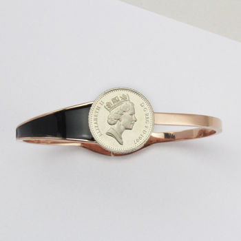 18th Or 21st Five Pence Rose Gold/Silver Bracelet