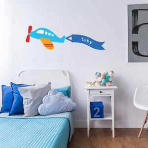 Personalised Childrens Plane Wall Stickers