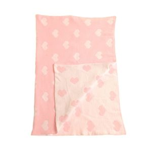 Personalised Pink White Hearts Chenille Baby Blanket