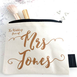 'The Wedding Face Of' Personalised Wedding Make Up Bag - hen party styling