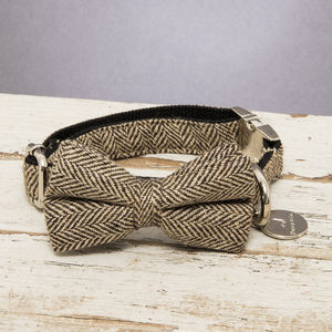 The Beaufort Country Tweed Dog Collar Bow Tie - dogs