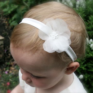 Charlotte Silk Flower Girl & Baby Hairband - christeningwear