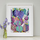 Purple Prickly Cactus Print