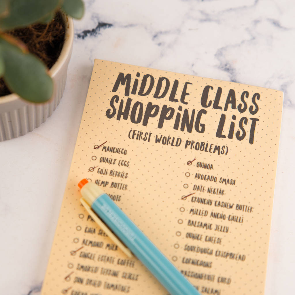 middle class magnetic shopping list pad by bread & jam ...