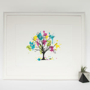 Blooming Colourful Original Splatter Tree Screen Print - limited edition art