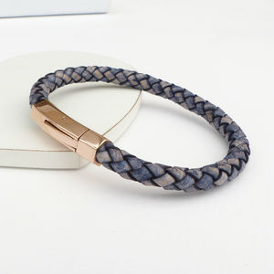 Mens Braided Leather Rose Gold Bracelet