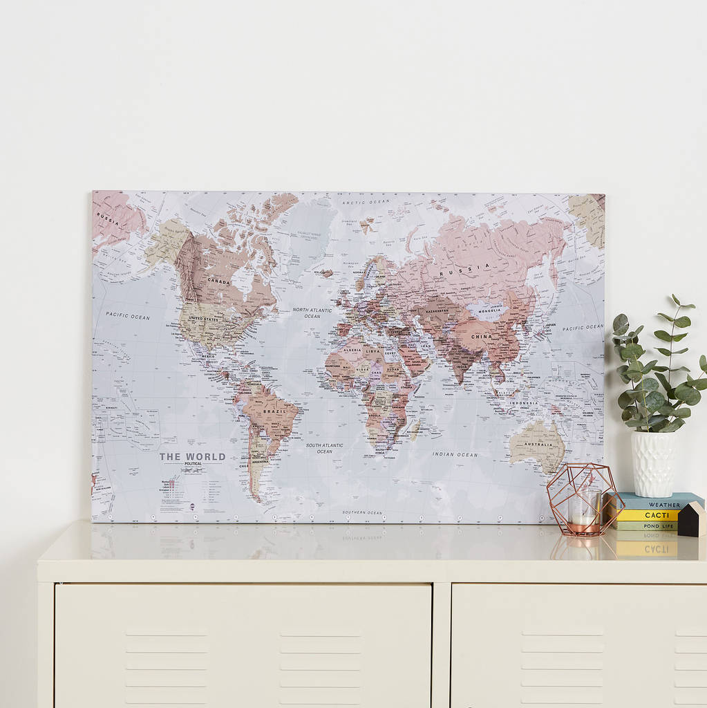 executive world map canvas print