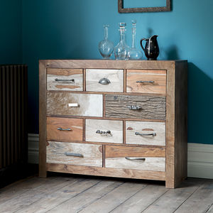 Montana Vintage Style 10 Drawer Chest - bedroom
