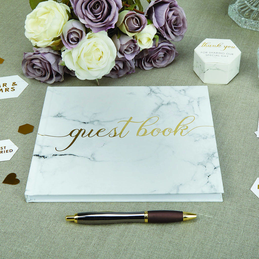 Wedding Guest Book With Gold Foil