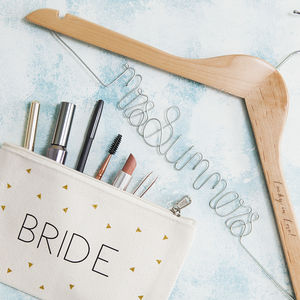 Personalised Bridal Wedding Hanger And Makeup Bag Set