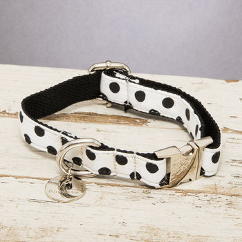 The Mayfair Black And White Spotted Dog Collar