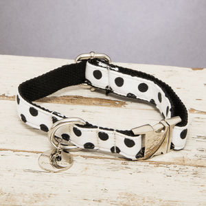 The Mayfair Black And White Spotted Dog Collar - pet collars