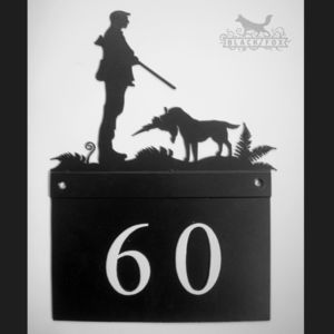 Gun Dog House Number Plate