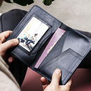 Leather Travel Passport Holder With Metal Photo Insert