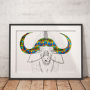 Buffalo African Animal Illustration And Pattern Print