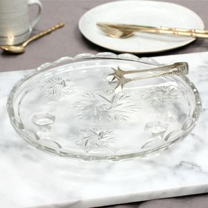 Vintage Pressed Glass Cake Plate - cake stands