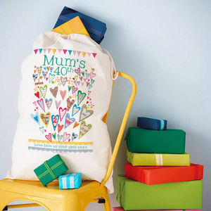 Personalised Birthday Milestone Storage Sack - ribbon & wrap