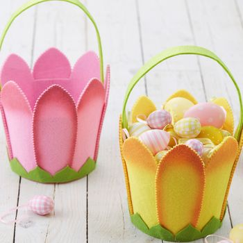 Felt Tulip Easter Egg Hunt Basket