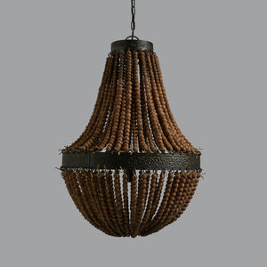 Genevieve Wooden Bead And Black Zinc Chandelier - ceiling lights