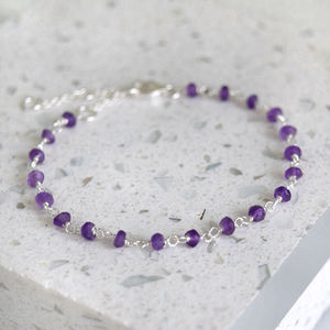 Sterling Silver Amethyst Beaded Bracelet - children's accessories