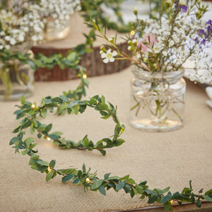 Foliage String Fairy Light Wedding Table Decoration