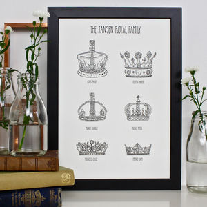 Royal Crown Personalised Family Tree Prints - family & home
