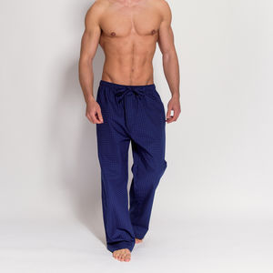 Men's Navy And Orange Cotton Pyjama Trousers - nightwear