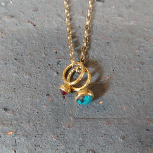 Gold Turquoise And Fire Opal Necklace : Ancient Awe