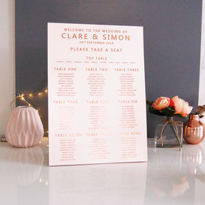 Blush And Rose Gold Copper Wedding Table Plan