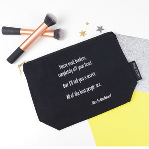 'You Are Bonkers' Quote Alice In Wonderland Make Up Bag