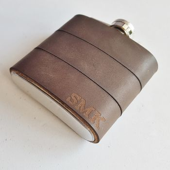 Personalised Hip Flask Made With Re Purposed Leather
