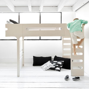 F Designer Kids Loft Bed In Whitewash - furniture
