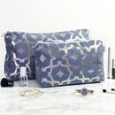 Metallic Wash Bag In Blue And Gunmetal