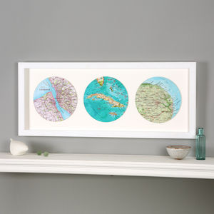 Three Map Circle Personalised Wedding Anniversary Print