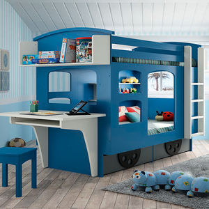 Kids Wagon Bunk Bed With Drawers - beds