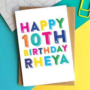 Happy Birthday Colourful Personalised Greeting Card - birthday cards
