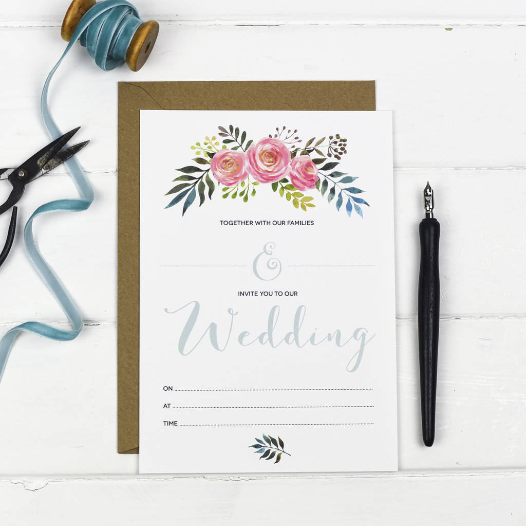 Floral Write Your Own Wedding Invitation Set By Russet And Gray