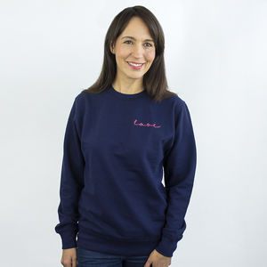 'Love' Neon Sign Embroidered Unisex Sweatshirt Jumper