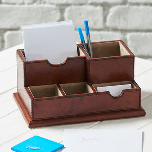 Leather Desk Organiser - desk tidies