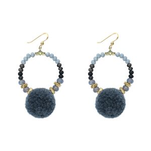Cloudy Pom Pom Hoop Earrings - view all new