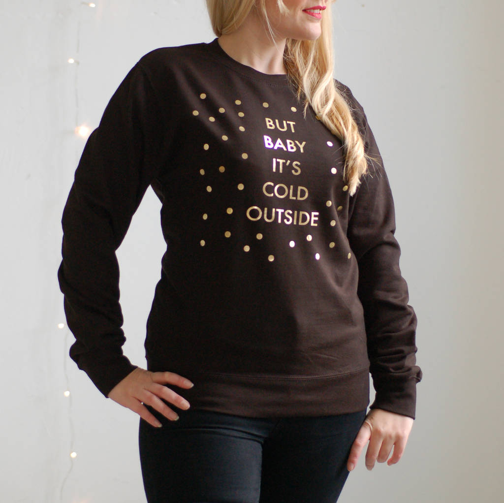 Christmas Jumper Black And Gold But Baby