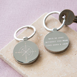 Personalised Mother's Day Compass Keyring - gifts for fathers