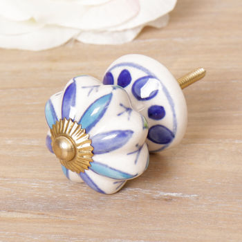 Art Deco Blue And White Petal Ceramic Drawer Pull