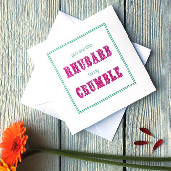 Rhubarb and Crumble card