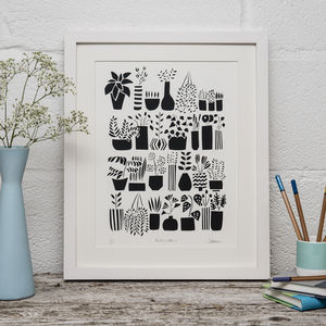 Plants In Pots Limited Edition Screen Print - nature & landscape