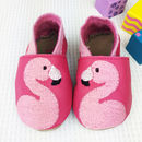 Personalised Embroidered Flamingo Baby Shoes