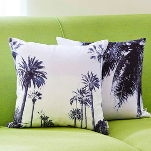 Tropical Palm Tree Avenue Print Cotton Cushion - patterned cushions
