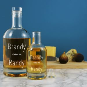'Brandy Makes Me Randy' Etched Glass Decanter