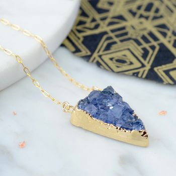 Druzy Triangle Gold Necklace