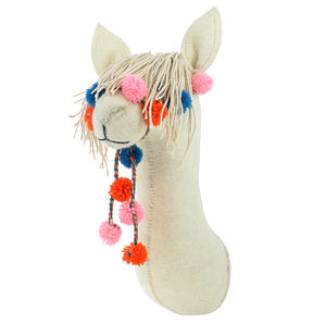 Cream Llama Wall Head - wall hangings for children